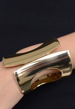 Womens ladies chunky cut out gold bracelet cuff bangle