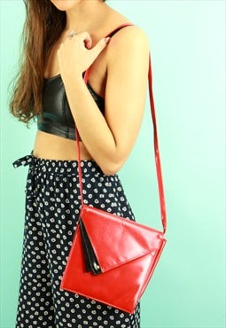 Red & Black Real Leather Across Body Handbag