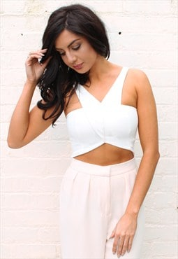 Cut Away V Neck Shaped Crop Top Bralet in Soft Cream