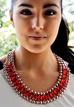 Isis Rose Gold Red Rhinestone Statement Bib Necklace