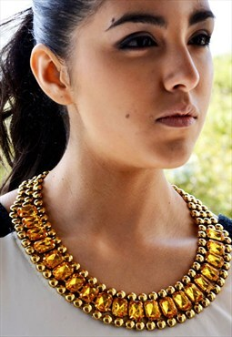 Isis Vintage Gold Yellow Rhinestone Statement Bib Necklace