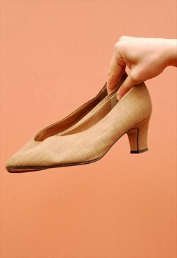 90's retro Boho canvas linen rustic pumps