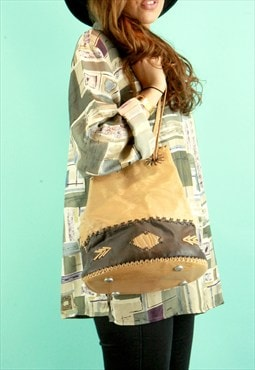 Caramel Patchwork Bucket Bag