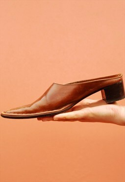 90's retro Boho real leather western style rustic pumps
