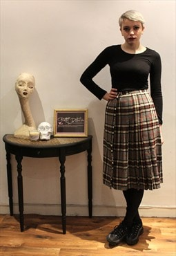 Vintage Punk Tartan Checked Kilt Midi Skirt