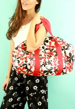 Red And Black Floral Holdall