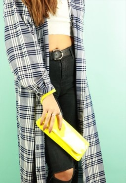 Neon Yellow PVC Clutch Bag