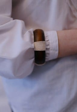 Vintage Brown Wooden Bracelet With White Linen Details