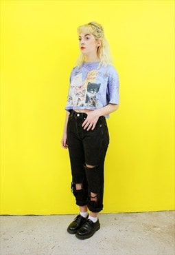 Vintage Reworked Tie Dye Cat Cropped T-shirt Crop Top