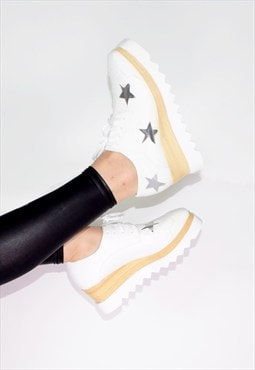 Polec Starry Platform Shoes WHITE