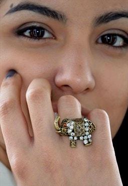 Statement Gold Elephant Animal Ring US 6 3/4 UK Size N 1/2