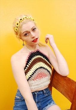 70's style jazzy customized crochet knitted halter crop top