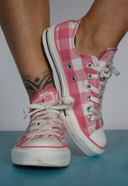 Vintage 90s Pink & White Check Converse All Star Trainers