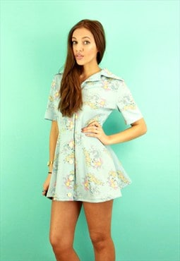 Pale Blue Oriental Print Short Sleeved Shift Dress
