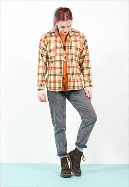 Vintage 70's Pendleton Check Plaid Thick Wool Shirt