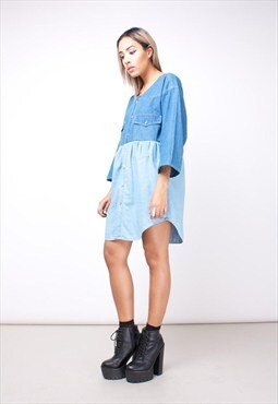 Vintage Denim Smock Dress 252JDA1