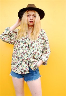 90's retro Boho Hippie floral oversized shirt blouse top