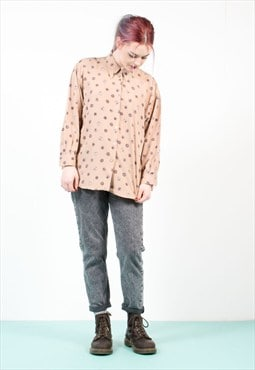 Vintage Coin Patterned Oversize Shirt