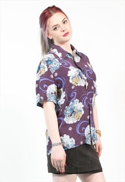 Vintage Oriental Patterned Purple Shirt
