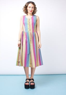 Vintage 70s Rainbow Dress 263ST5