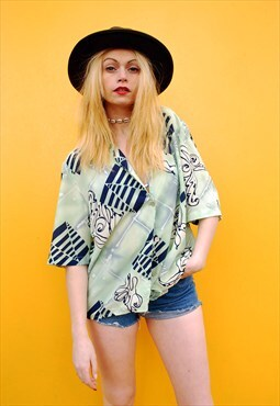 90's retro pastel abstract print oversized shirt blouse top