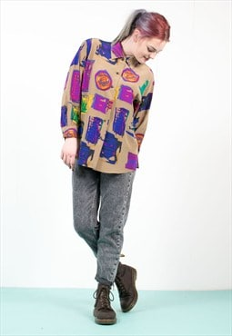 90's Abstract Patterned Oversize Shirt