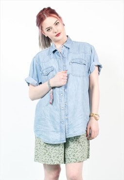 Vintage 90's Light Blue Oversize Denim Shirt