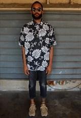 80s 90s Skater Luxury Popover Hawaiian Palm Leaf Shirt XXL
