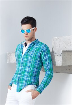 Casual Checked Green Slim Fit Cotton Linen Shirt