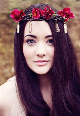 Lola Feather Flower Headband