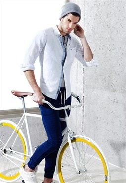 Casual Herringbone White Cotton Linen Slim Shirt