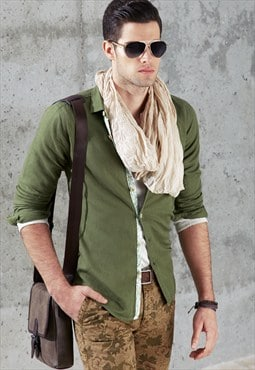 Casual Solid Green Linen Shirt