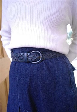 70's Navy Leather Plait Belt