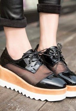 Mixed Media Oxford Lace-Up Platform Shoes
