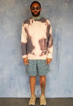 90s Classic Bleach Splatter Tie Dye Effect Jumper XL