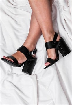 BONZAI Block Heel Peep Toe Sandal Shoes - Black