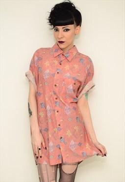 Vintage 90's Indie Peach Patterned Festival Shirt Dress