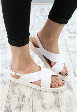 Womens White Jelly Strap Sandal Shoe