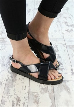 Womens Black Jelly Strap Sandal Shoe