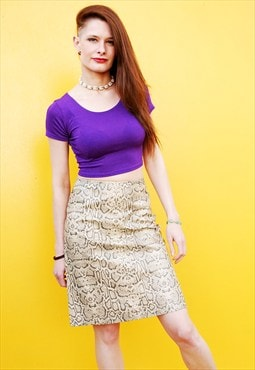90's retro snakeskin pattern faux leather midi skirt