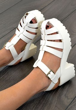 OPEL Chunky Heel Cut Out Strappy Summer Sandals in WHITE