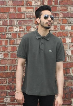 Vintage Lacoste Khaki Green Polo T-shirt with Crocodile Logo