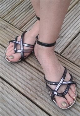 Black Mirrored Sandles