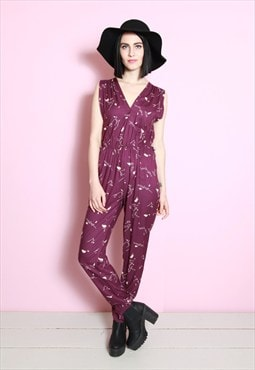 Vintage 1980's Purple and White Printed Jumpsuit/ All-in-one