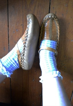 Vintage Tan Weaved Leather Boho Shoes