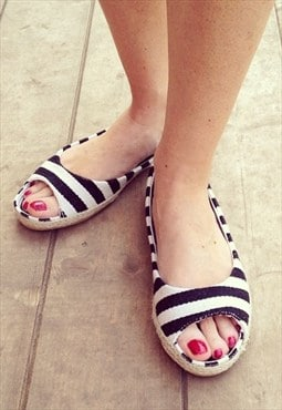 Striped Peep-Toe Espadrilles