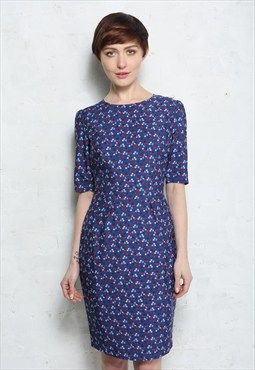 Blue And Red Cherry Print Mini Dress - Was £55
