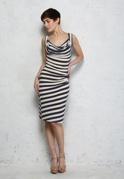 Navy and White Stripe Jersey Pencil Dress - Was £55