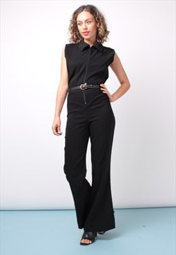 Vintage 80s Black Sleeveless Jumpsuit 214ST65