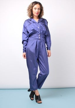 Vintage 80s  Purple Sheen Jumpsuit 214ST60